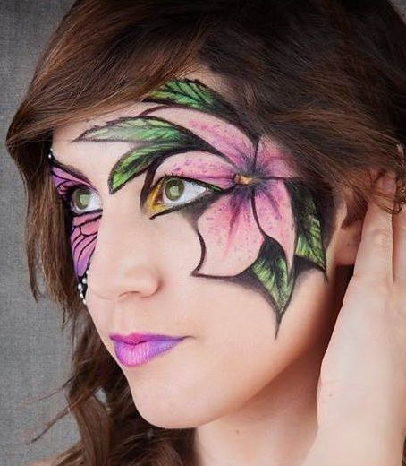 maquillage de fleurs sur le visage pour halloween henn tattoos et peinture sur visage et sur. Black Bedroom Furniture Sets. Home Design Ideas