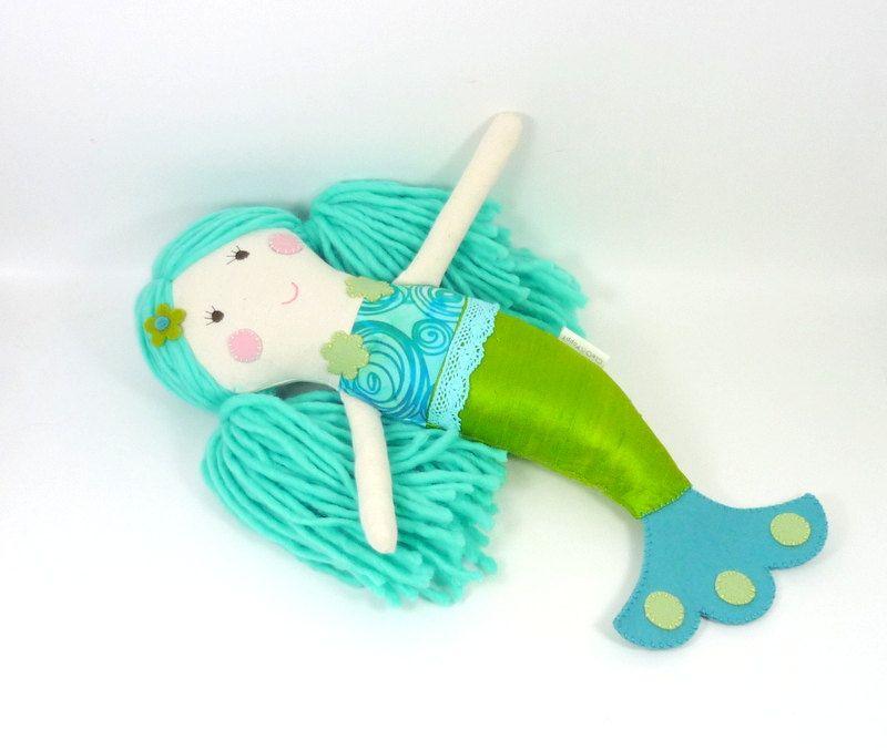 TOY mermaid doll , girl toy , waldorf mermaid , silk wool mermaid , green and turqoise , eco friendly toy  , Seraphine for kids. $48.00, via Etsy.