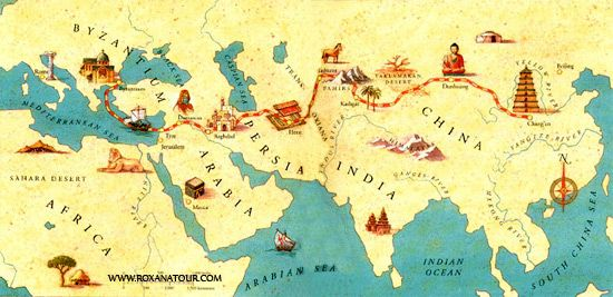 Great Silk Road map from http://www.roxanatour.com/