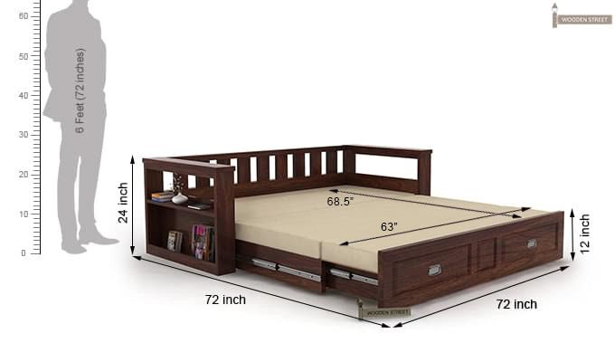 Riota couch cum bed with storage king size walnut finish also  rh pinterest