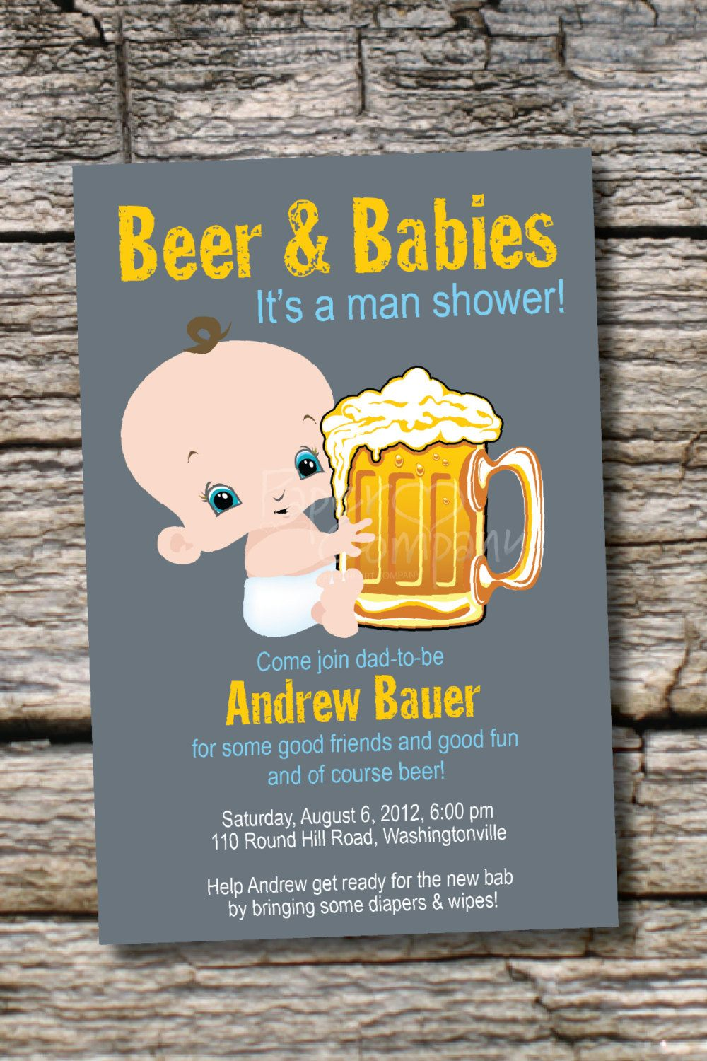 baby shower bbq invitation templates%0A MAN SHOWER Beer and babies Diaper Party Invitation  Printable digital file  or printed invitations