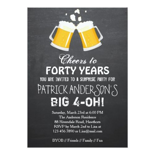 40th Birthday Invitation Beer 40th Birthday Zazzle Com