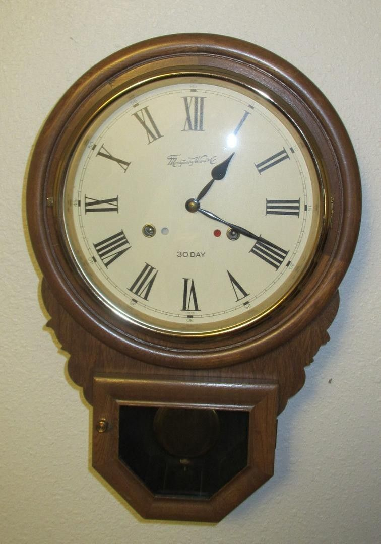 Up for bid is a vintage montgomery ward schoolhouse 30 day wall up for bid is a vintage montgomery ward schoolhouse wall clock no nicks scratches or damage in any way glass clock face and glass pendulum face amipublicfo Images