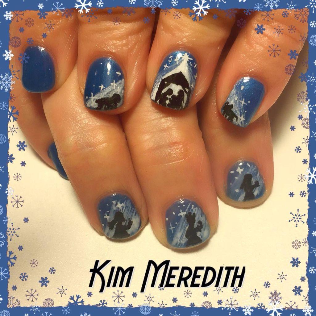 Kim Meredith Manger Scene Nail Art Christmas Nail Art Three Wiseman Nail Art Baby Jesus Nail Art Christmas Nails Christmas Nail Art Nails