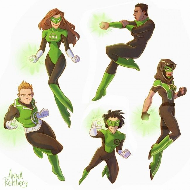genderbent fan art green lantern | action pose | Female dc