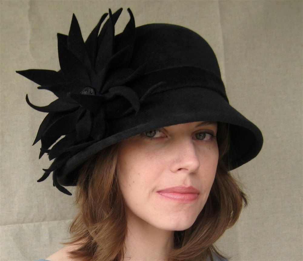 Charcoal gray felt hat with large flower handmade