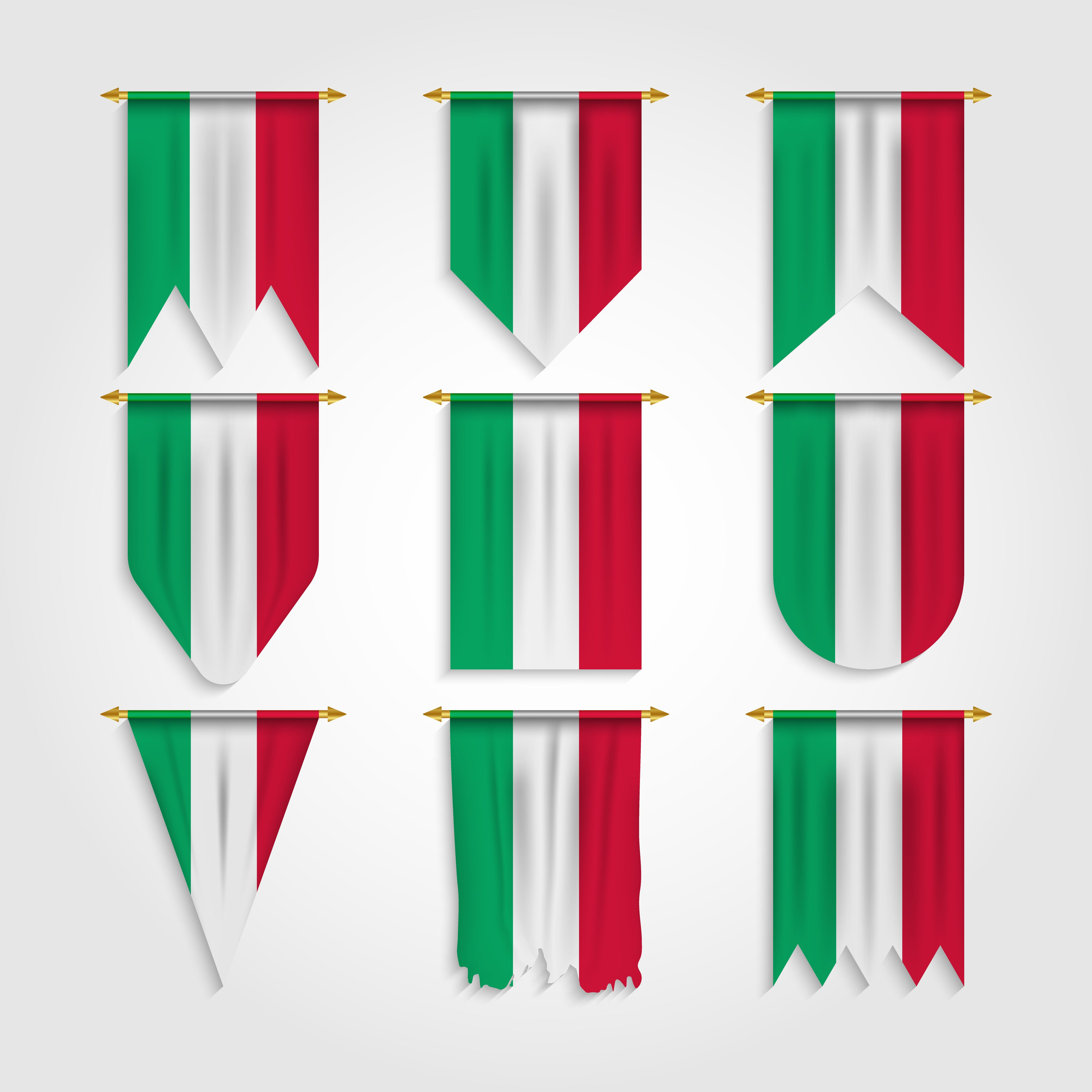 Italy Flag In Various Shapes In 2020 Italy Flag Shapes Flag
