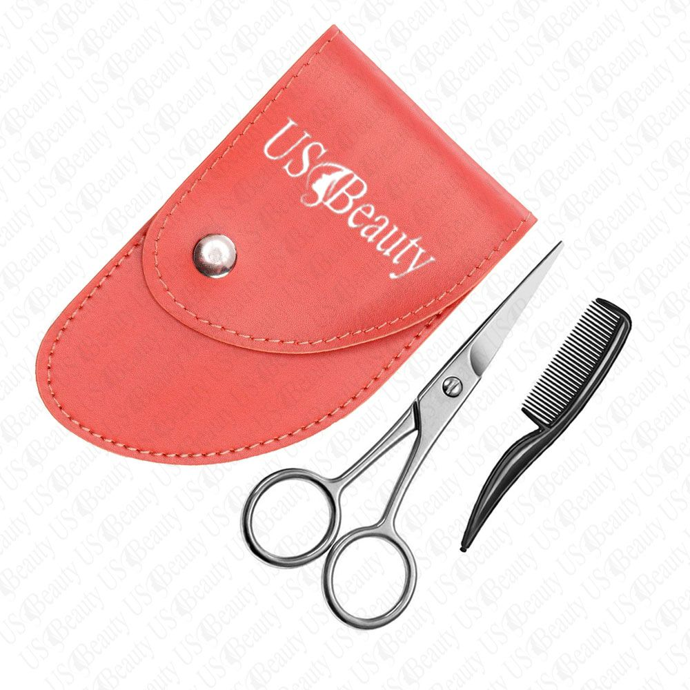 Beard scissors trimming set with comb and leather case