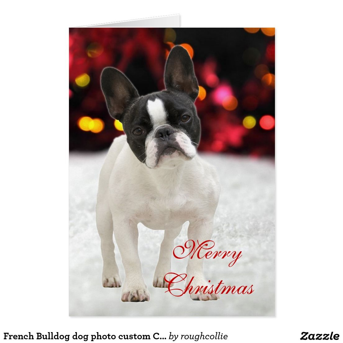 French Bulldog dog photo custom Christmas Card | Custom CHRISTMAS ...