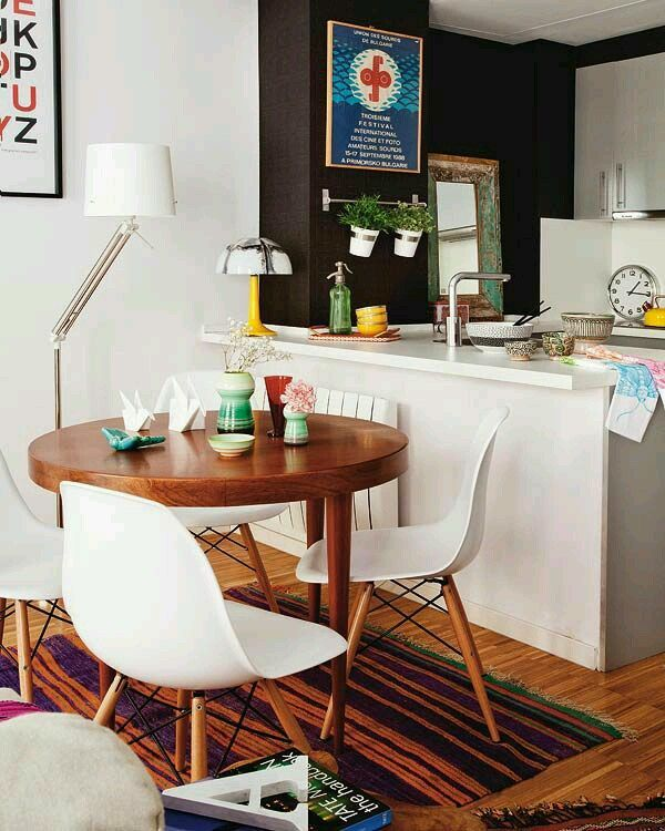 White + Wood Floor + Bohemian + Apartment + Small Space