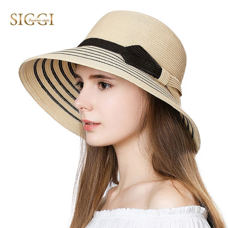 27d03486921 Find More Sun Hats Information about SIGGI Summer Beach Women Straw Sun Hats  Striped Print Bowknot Sweatband Adjustable Breathable Casual Hats For Female  ...