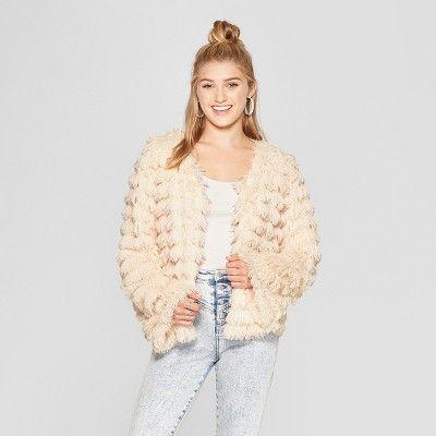 d8cb11ad9 Women s Fringe Faux Fur Jacket - Xhilaration Pink XS