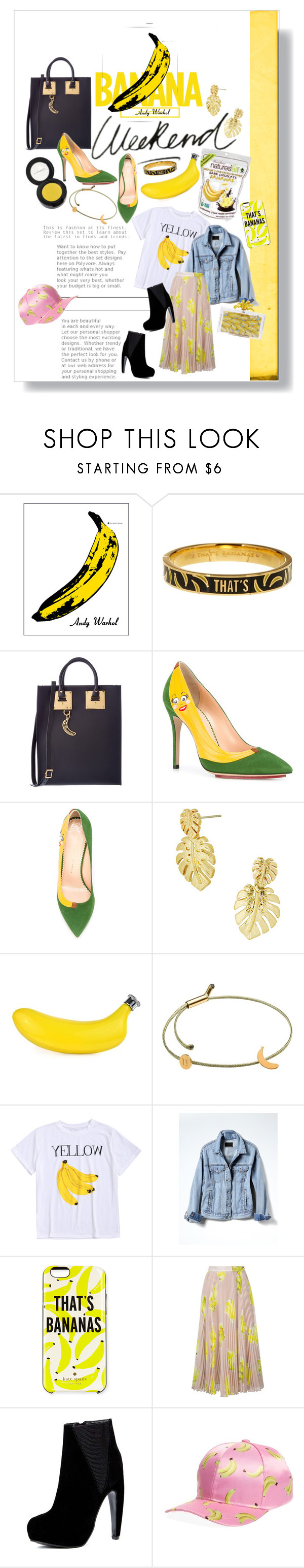 """""""Bananas 🍌"""" by britt-catlynne-weatherall on Polyvore featuring MAC Cosmetics, Andy Warhol, Kate Spade, Sophie Hulme, Charlotte Olympia, Lilly Pulitzer, Tadam!, Banana Republic, MSGM and Cara"""
