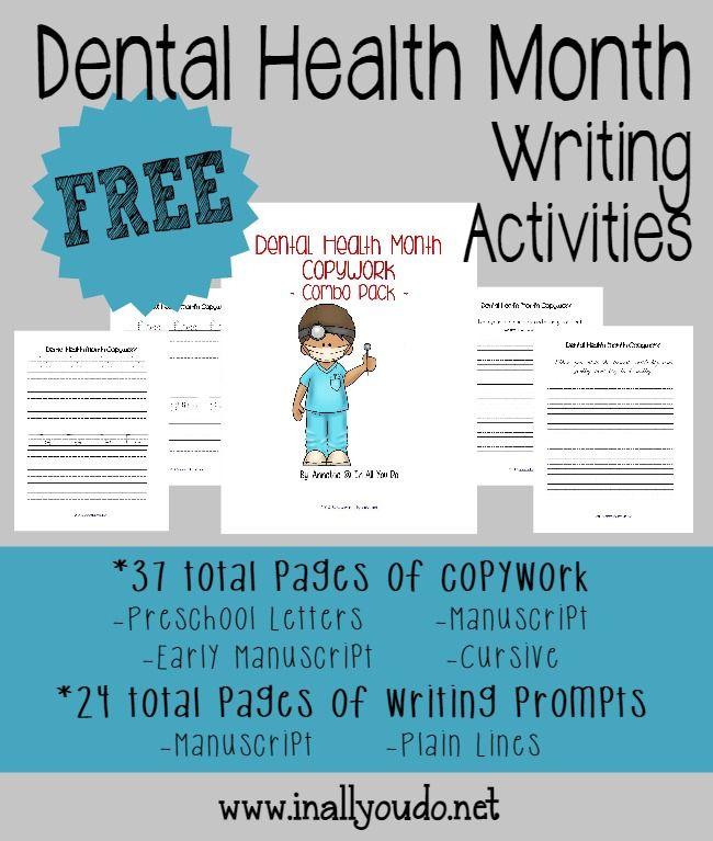 Dental Health Month Writing Aktivitäten   – For the classroom: Dental health