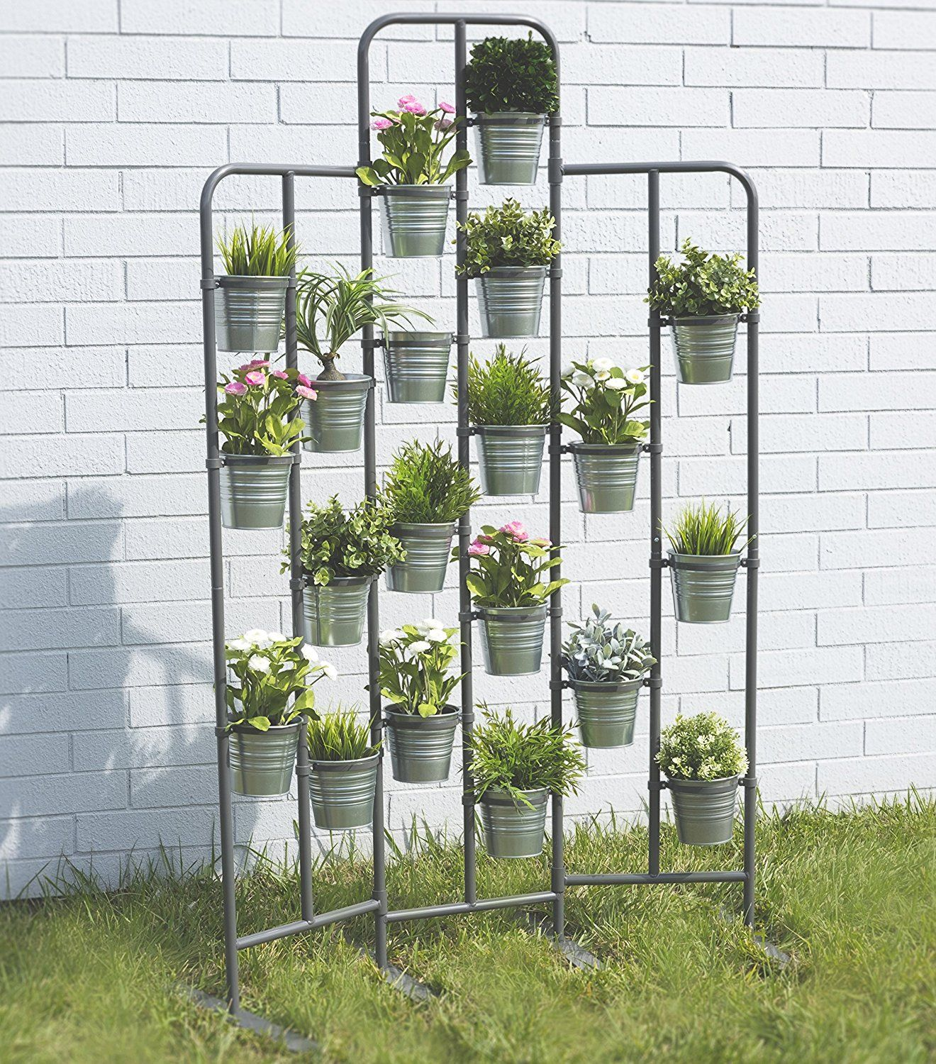 15 Tiny Outdoor Garden Ideas For The Urban Dweller: Tall Metal Plant Planter Stand 20 Tiers Display Plants