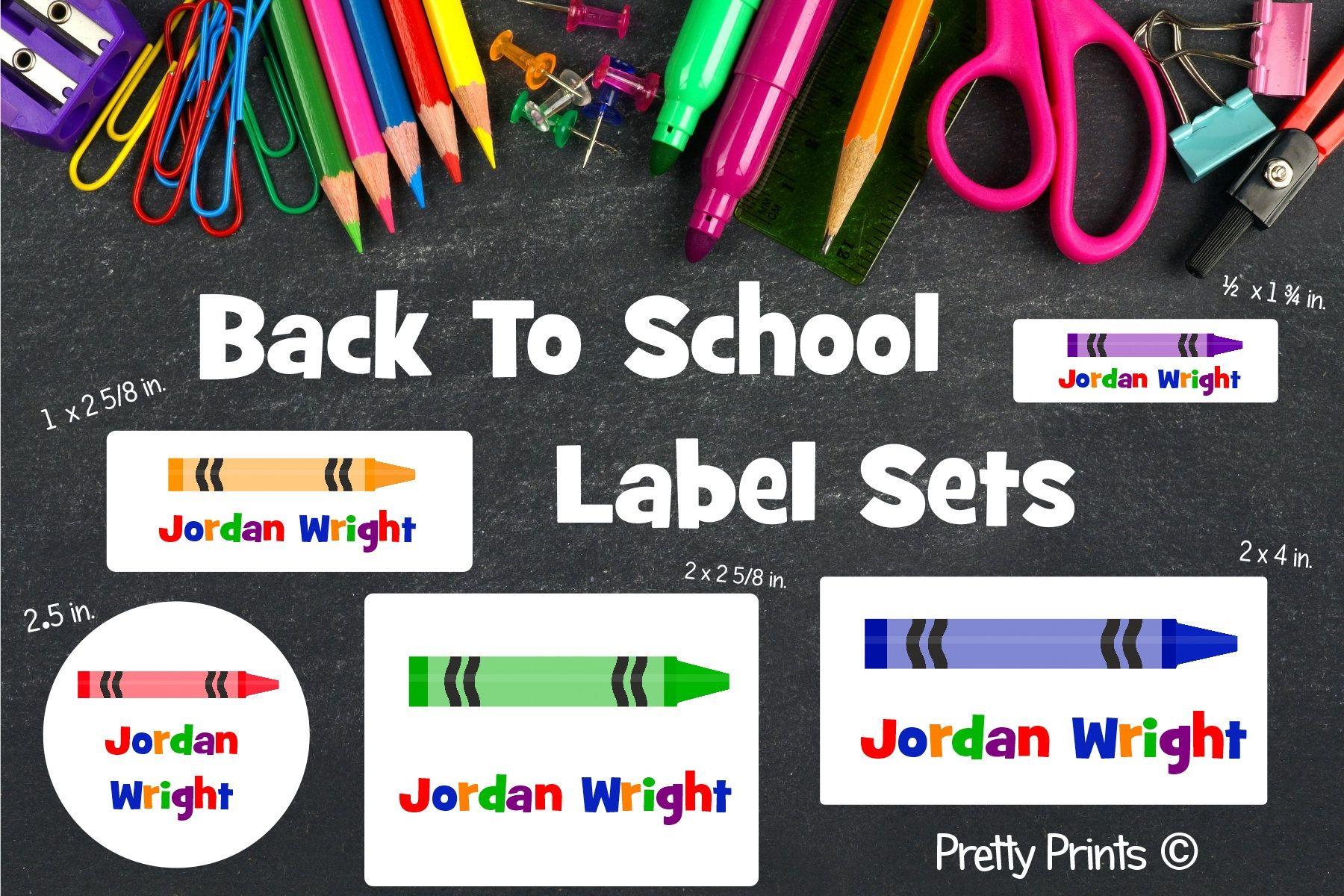 School labels back to school label set personalized stickers personalized labels school supply labels crayon labels