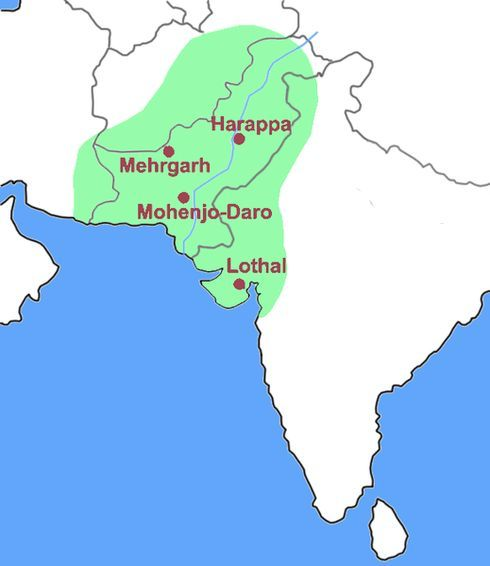 Map of Extent of Indus Valley / Harrapan Civilization | Historical Indus River Mouth On Map on indus river delta map, tigris mouth map, indus valley map,