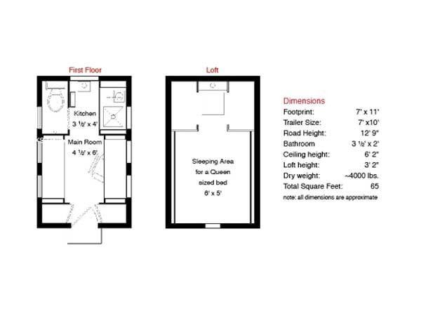xs house plans tumbleweed tiny house company 65 sq ft - Tumbleweed Tiny House Plans