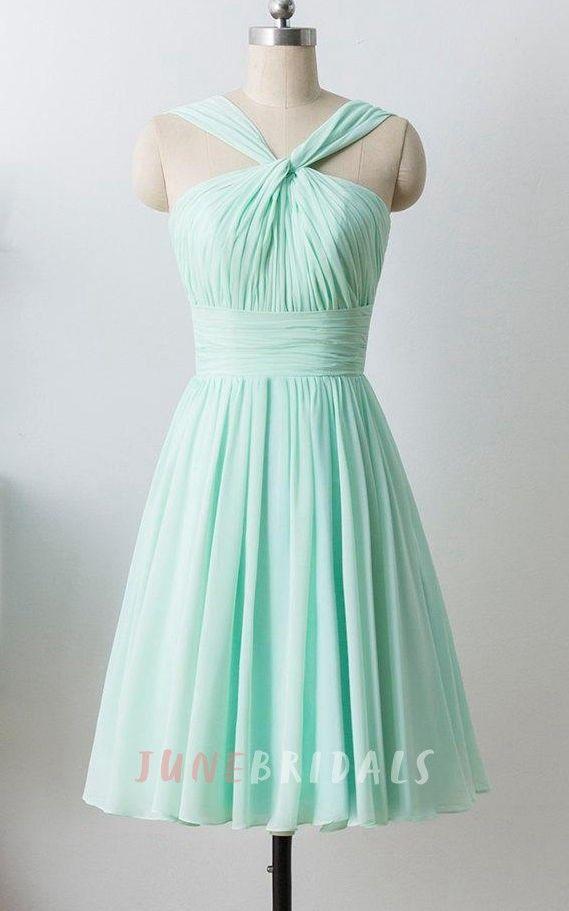 Mint Short Chiffon Halter Formal Dress   Bridesmaid Dresses ...