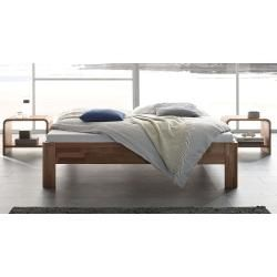Hasena solid wood bed Pello, 140×200 cm, natural walnut HasenaHasena