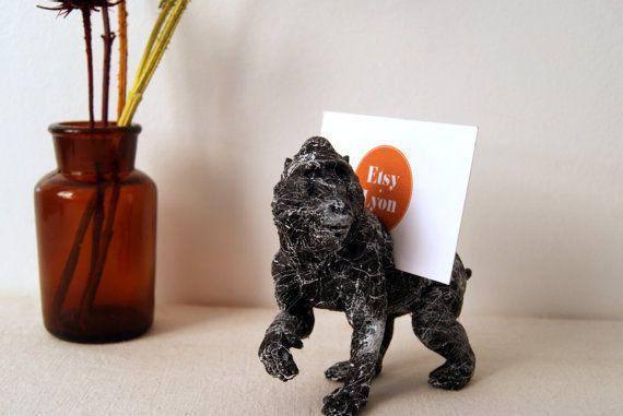 Porte photos singe marbre accessoire de bureau figurine singe