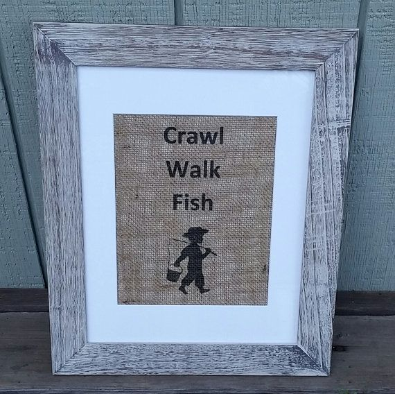 Nursery Decor Boy Crawl Walk Fish Rustic Fishing Theme Baby Shower Pregnancy Announcement