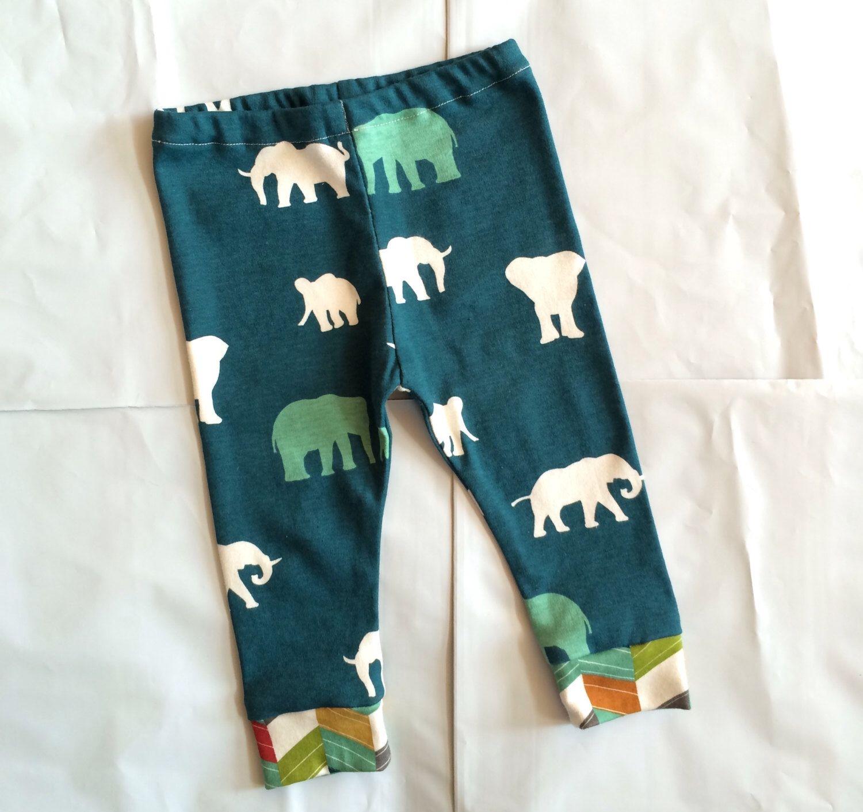Organic 6 12 month baby boy leggings pants in teal elephant