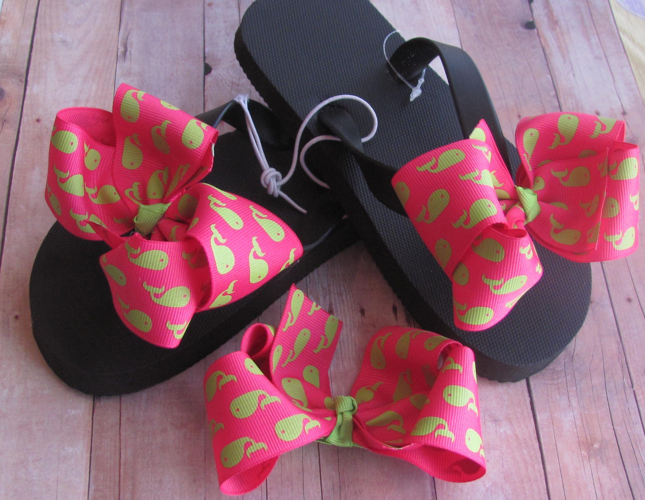 0b543572a Interchangeable Flip Flops with Bow and Matching Hair Bow  9.00 ...