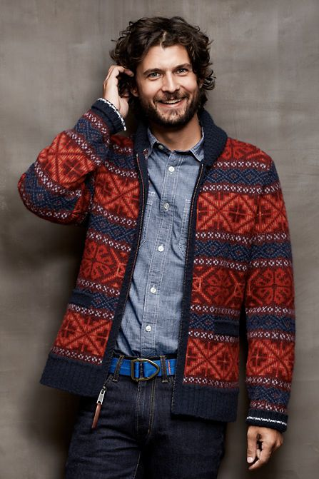 Men's Lambswool Fair Isle Cowichan Sweater from Lands' End | my ...