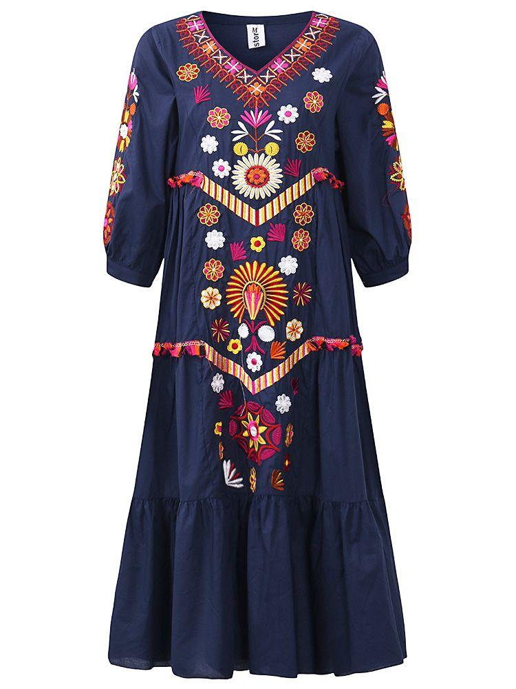ff70a06f51a Bohemian Women Long Sleeve V-Neck Embroidered Maxi Dress
