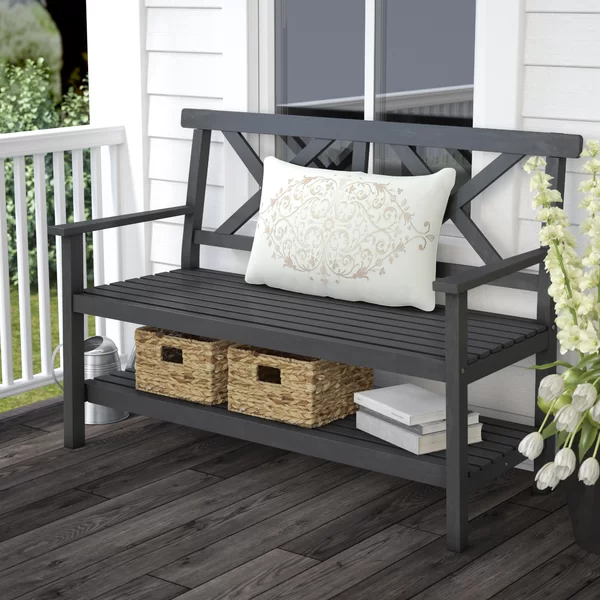 Latulipe Wood Garden Bench In 2020 Wooden Garden Benches Front