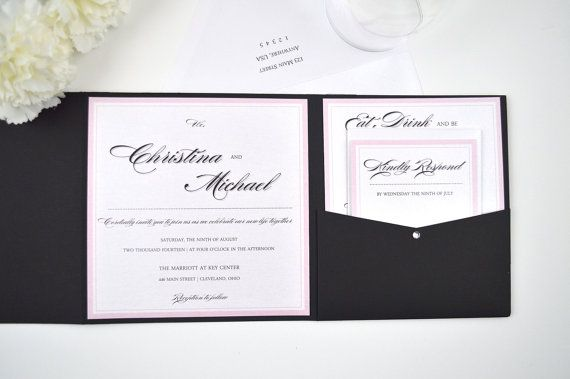 Simply Classic Pocketfold Wedding Invitation by RedHeartPaperCo, $5.40