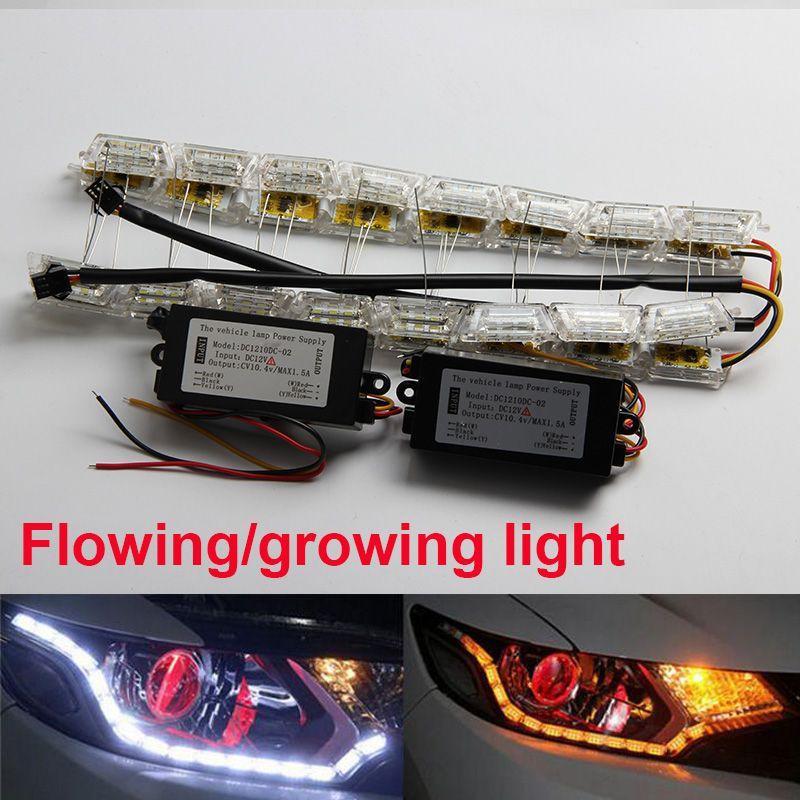 50cm High Power Flexible Crystal Led Drl Daytime Running Strip Light For Car Headlight Turn Signal White Amber Bar Lap Car Headlights Strip Lighting Car Lights