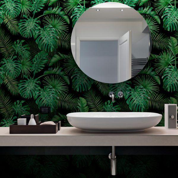 Papel De Parede Adesivo Floral Palmeiras Tropical Black Papel De