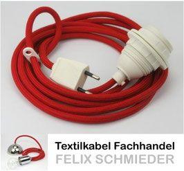 Textilkabel Le textilkabel leuchtenpendel rot mit e27 kunststoff fassung mit