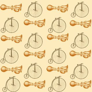 12 x 12 inch vintage bicycle horn printable that I designed for scrapbooking and paper crafting