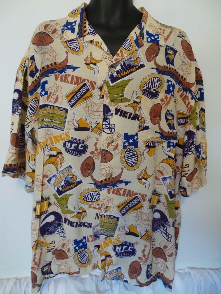7d1f3bfd7 Minnesota Vikings NFL Hawaiian Style Camp Shirt Mens XL Short Sleeve EUC   NFL  MinnesotaVikings