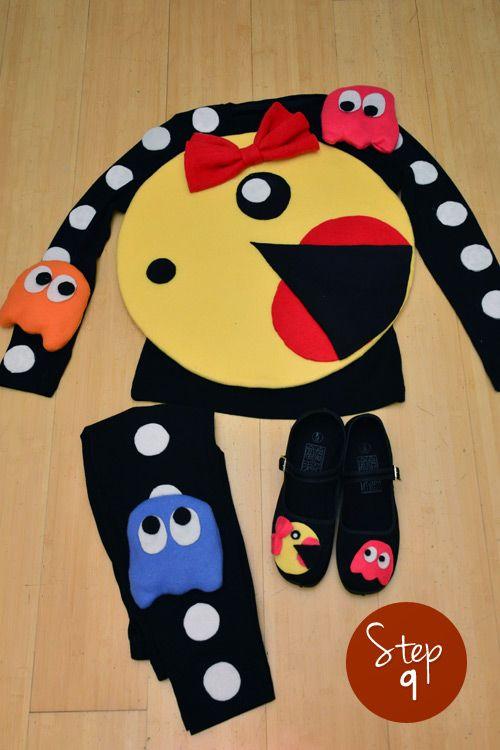 mrs pac man costume step 9 good preggo belly costume halloween pinterest kost me. Black Bedroom Furniture Sets. Home Design Ideas