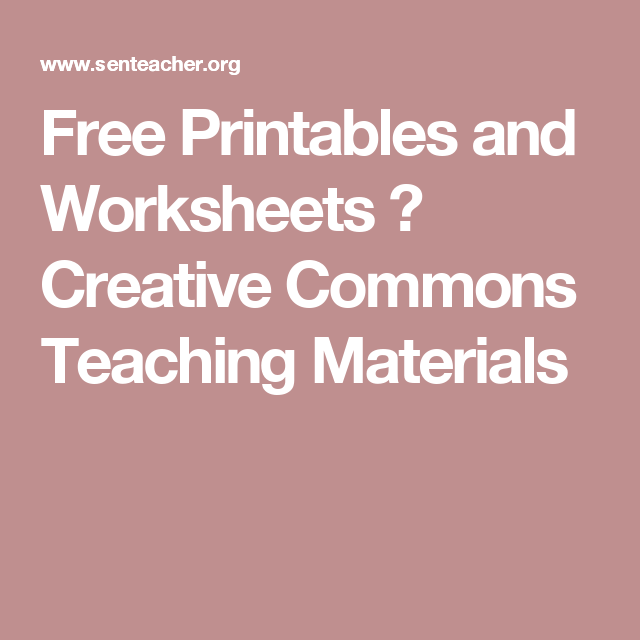 Free Printables and Worksheets ⋆ Creative Commons Teaching ...