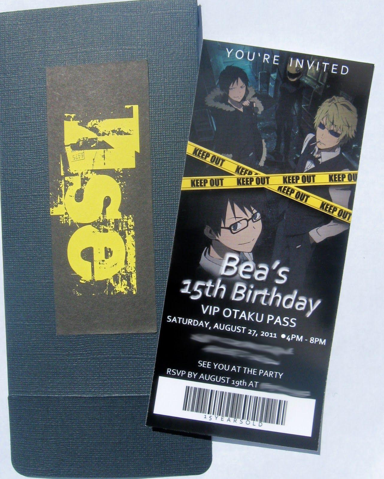 Durarara birthday party invitation anime invitation