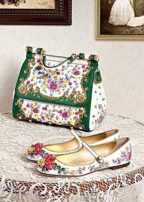 #accessori #Bag #Dolce #Gabbana #matching #Shoes #Sicily #Winter #Woman Dolce & Gabbana Bag Miss Sicily with matching shoes, winter 2016 woman accessories collection.