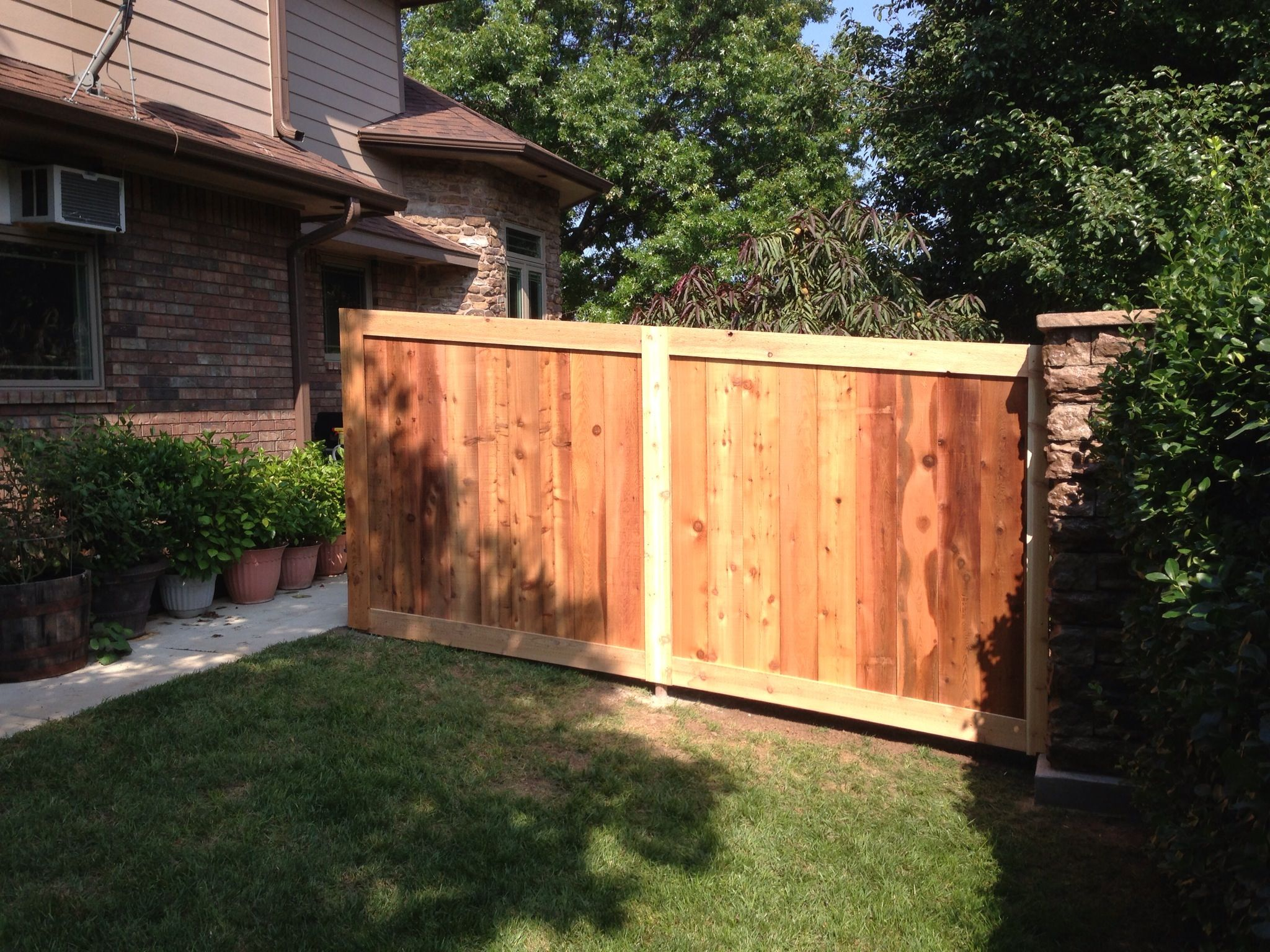 fence on south side of residence