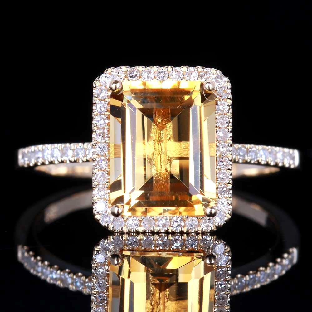 6.5x8.5mm Emerald Cut 2ct Diamond Halo Engagement Ring in 10k Yellow Gold  #Affinityhomeshopping #Halo