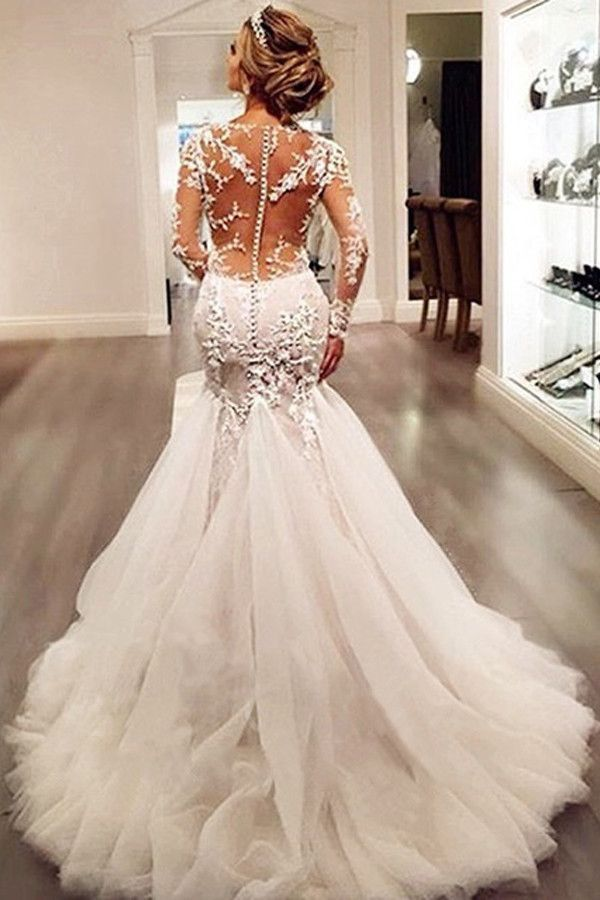 Long Sleeves Court Train Ivory Wedding Dress With Lace Appliques WD037