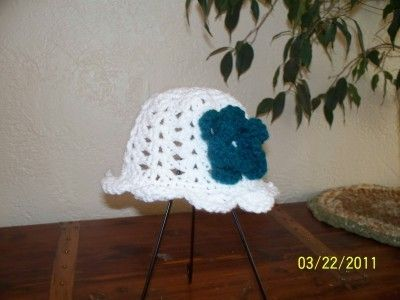 White Sun or Beach Hat with Flower by HenHouseCrochet on Etsy, $15.00