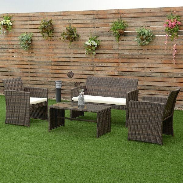 Costway 4 PCS Outdoor Patio Rattan Wicker Furniture Set