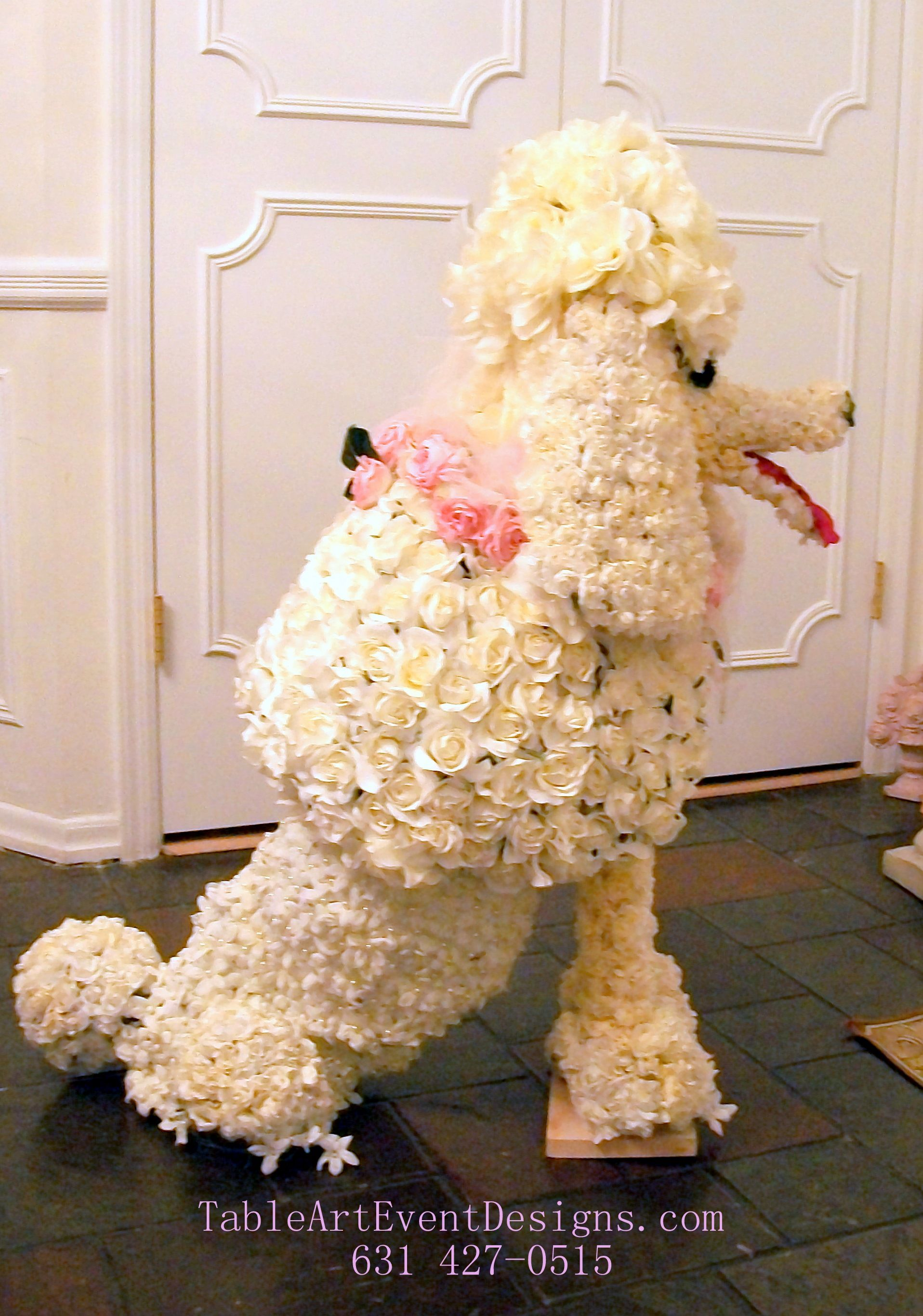 Pin by alexis marie mancini on parties pinterest must figure out how to recreateout of faux flowers to have in lrlibrayart studio floral sculpture of french poodle dog izmirmasajfo