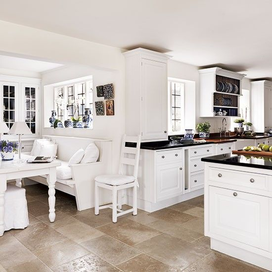 Painted Family Kitchen With Dining Nook: White Painted Kitchen-diner