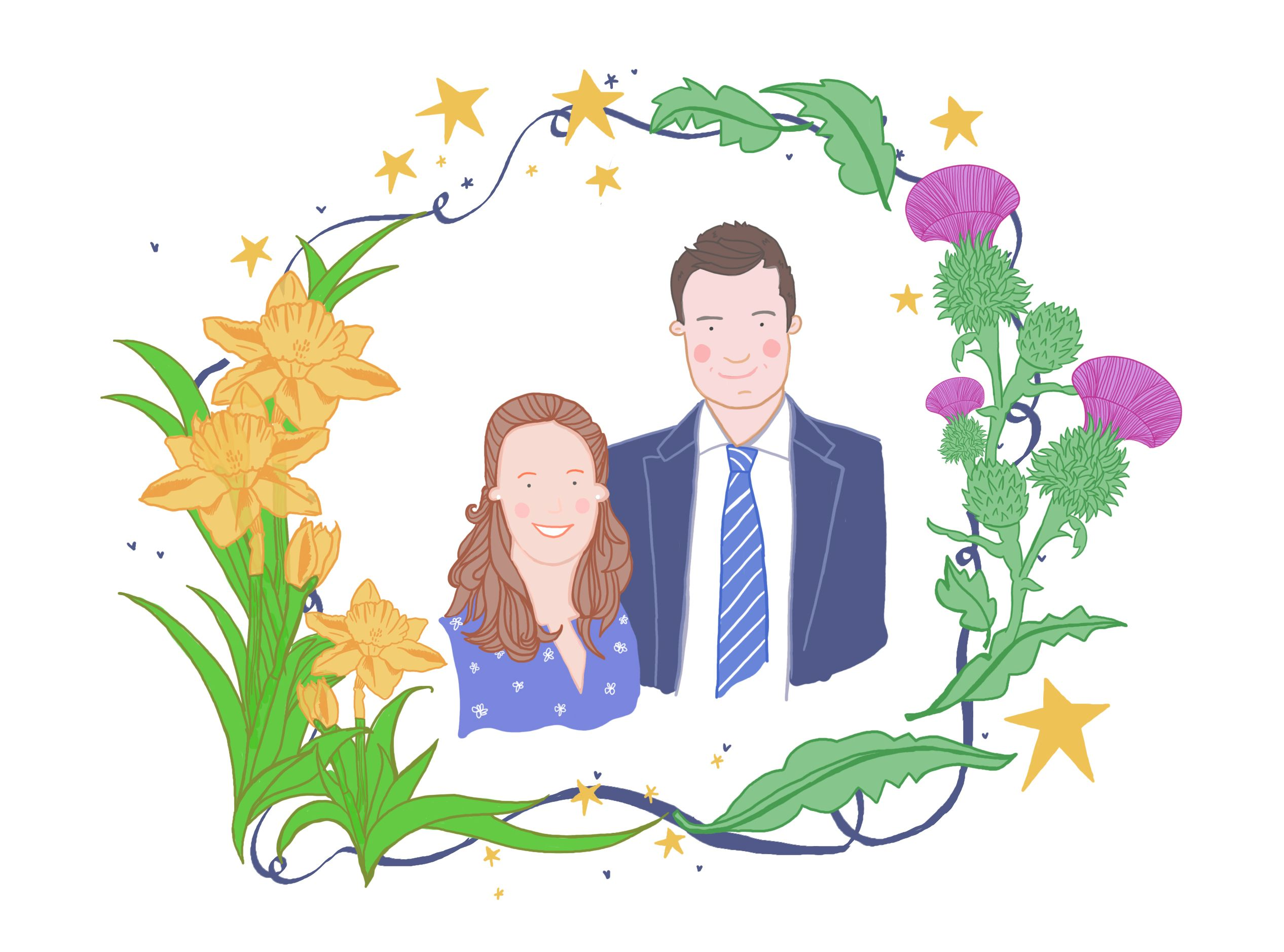 I love this couples' #portrait. It celebrates the #Scottish and #Welsh roots of the couple with the beautiful flower frame.