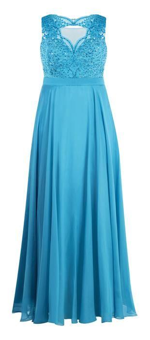 f018df6d09 Vestido longo com saia de cetim sobreposto por chiffon e parte superior em  tule bordado com